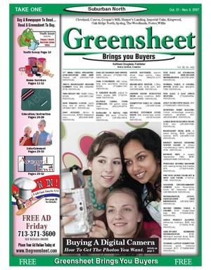 Primary view of object titled 'Greensheet (Houston, Tex.), Vol. 38, No. 462, Ed. 1 Wednesday, October 31, 2007'.