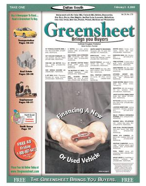 Primary view of object titled 'Greensheet (Dallas, Tex.), Vol. 28, No. 279, Ed. 1 Wednesday, February 2, 2005'.
