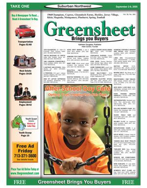 Primary view of object titled 'Greensheet (Houston, Tex.), Vol. 36, No. 360, Ed. 1 Friday, September 2, 2005'.