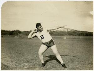 Primary view of object titled 'Schreiner Institute Shot Put Thrower Joe Max Kahn'.