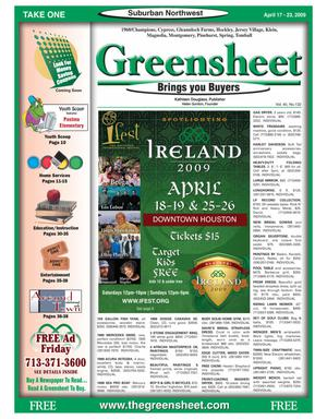 Primary view of object titled 'Greensheet (Houston, Tex.), Vol. 40, No. 132, Ed. 1 Friday, April 17, 2009'.
