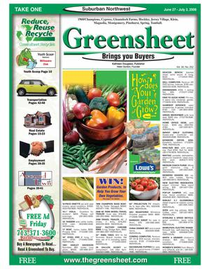 Primary view of object titled 'Greensheet (Houston, Tex.), Vol. 39, No. 252, Ed. 1 Friday, June 27, 2008'.