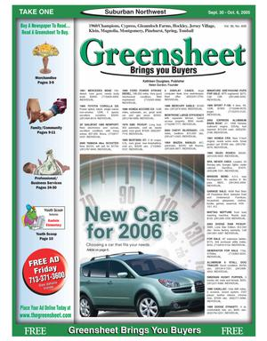 Primary view of object titled 'Greensheet (Houston, Tex.), Vol. 36, No. 408, Ed. 1 Friday, September 30, 2005'.