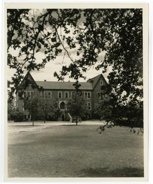 Primary view of object titled 'the Admin. Building (Weir) from a Distance'.