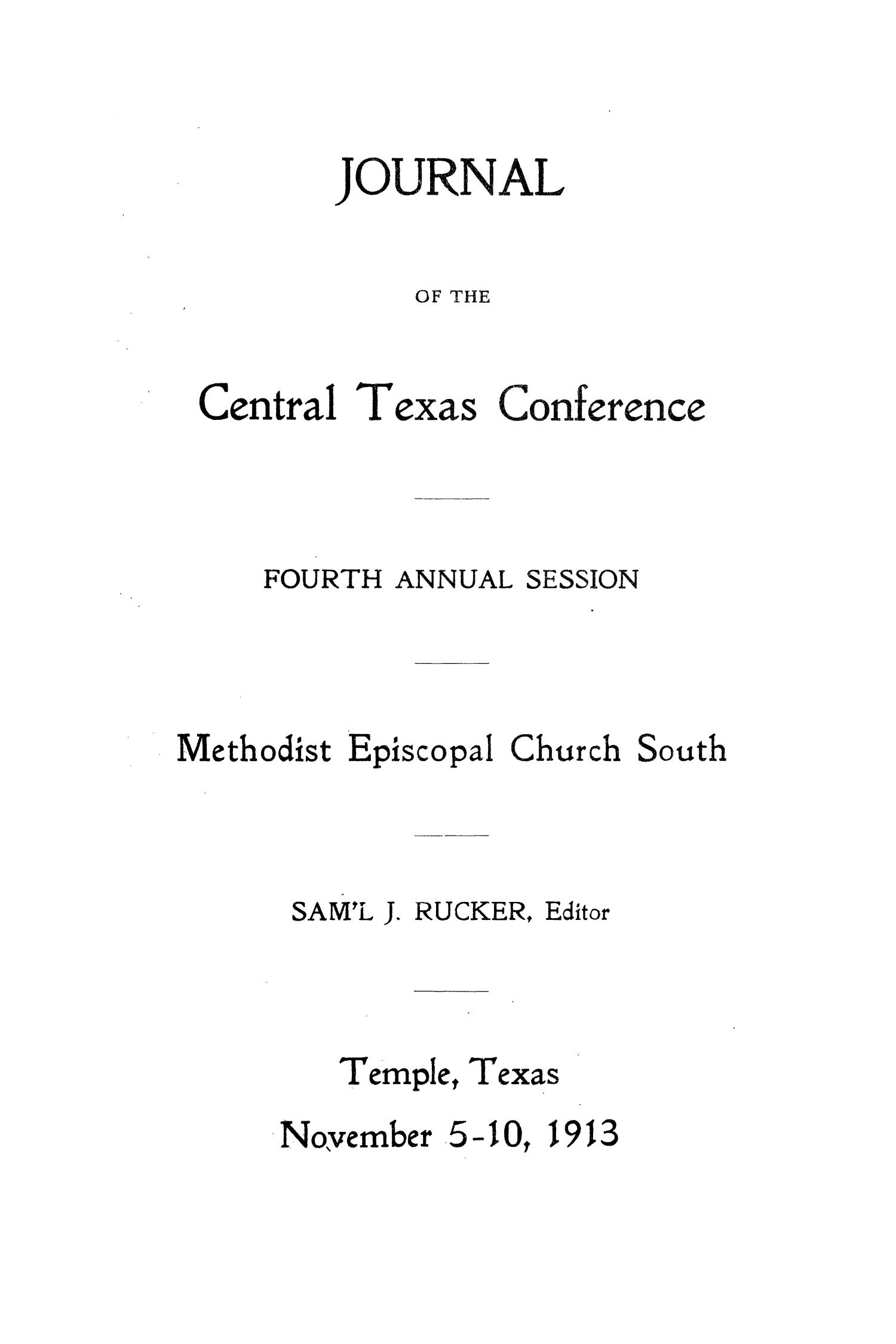 Journal of the Central Texas Conference, Fourth Annual Session, Methodist Episcopal Church South                                                                                                      1