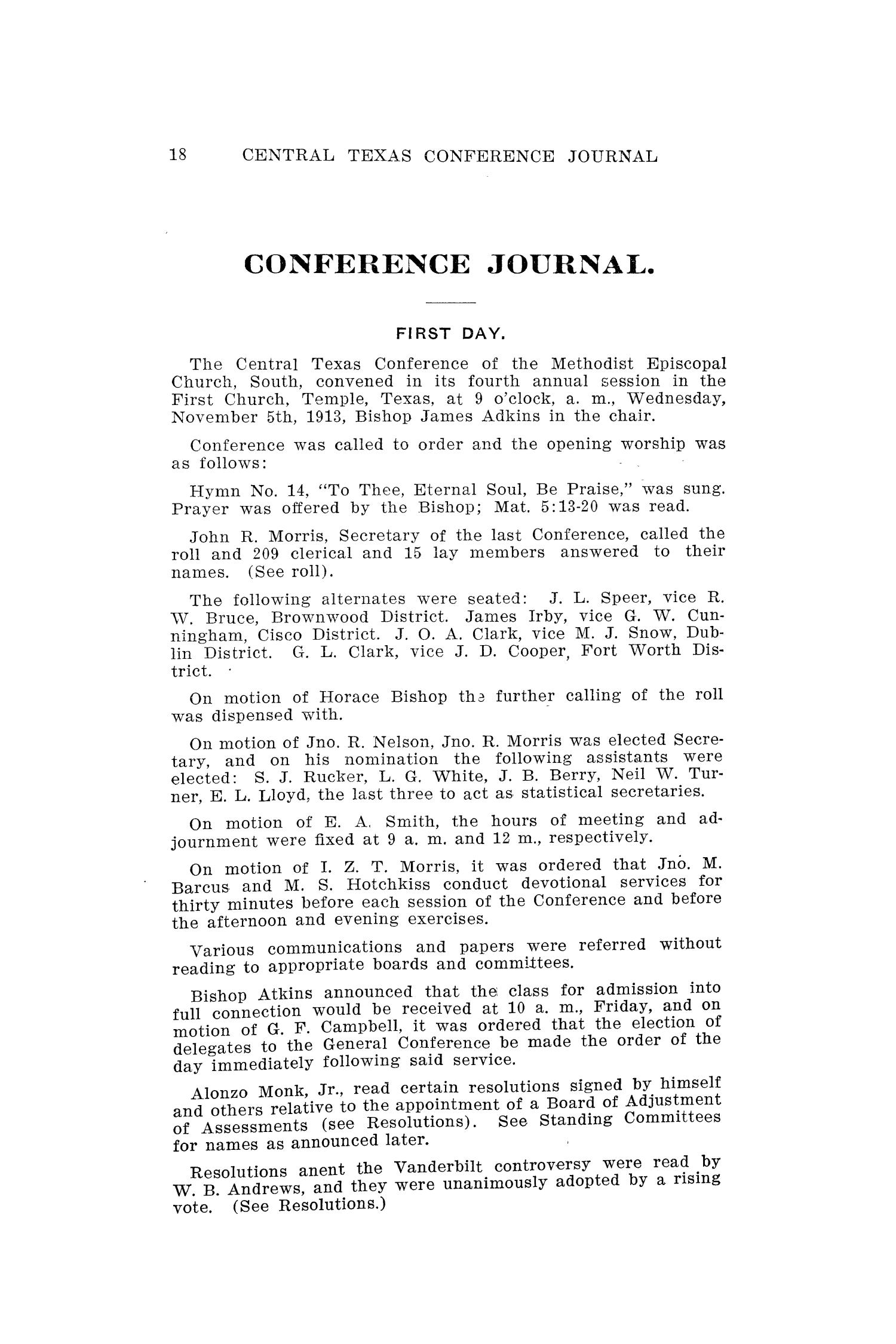 Journal of the Central Texas Conference, Fourth Annual Session, Methodist Episcopal Church South                                                                                                      18