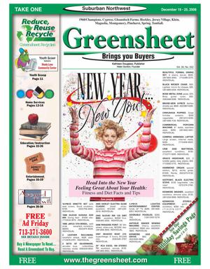 Primary view of object titled 'Greensheet (Houston, Tex.), Vol. 39, No. 552, Ed. 1 Friday, December 19, 2008'.