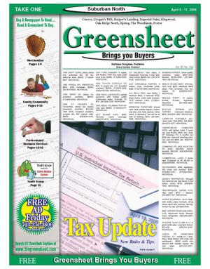 Primary view of object titled 'Greensheet (Houston, Tex.), Vol. 37, No. 102, Ed. 1 Wednesday, April 5, 2006'.