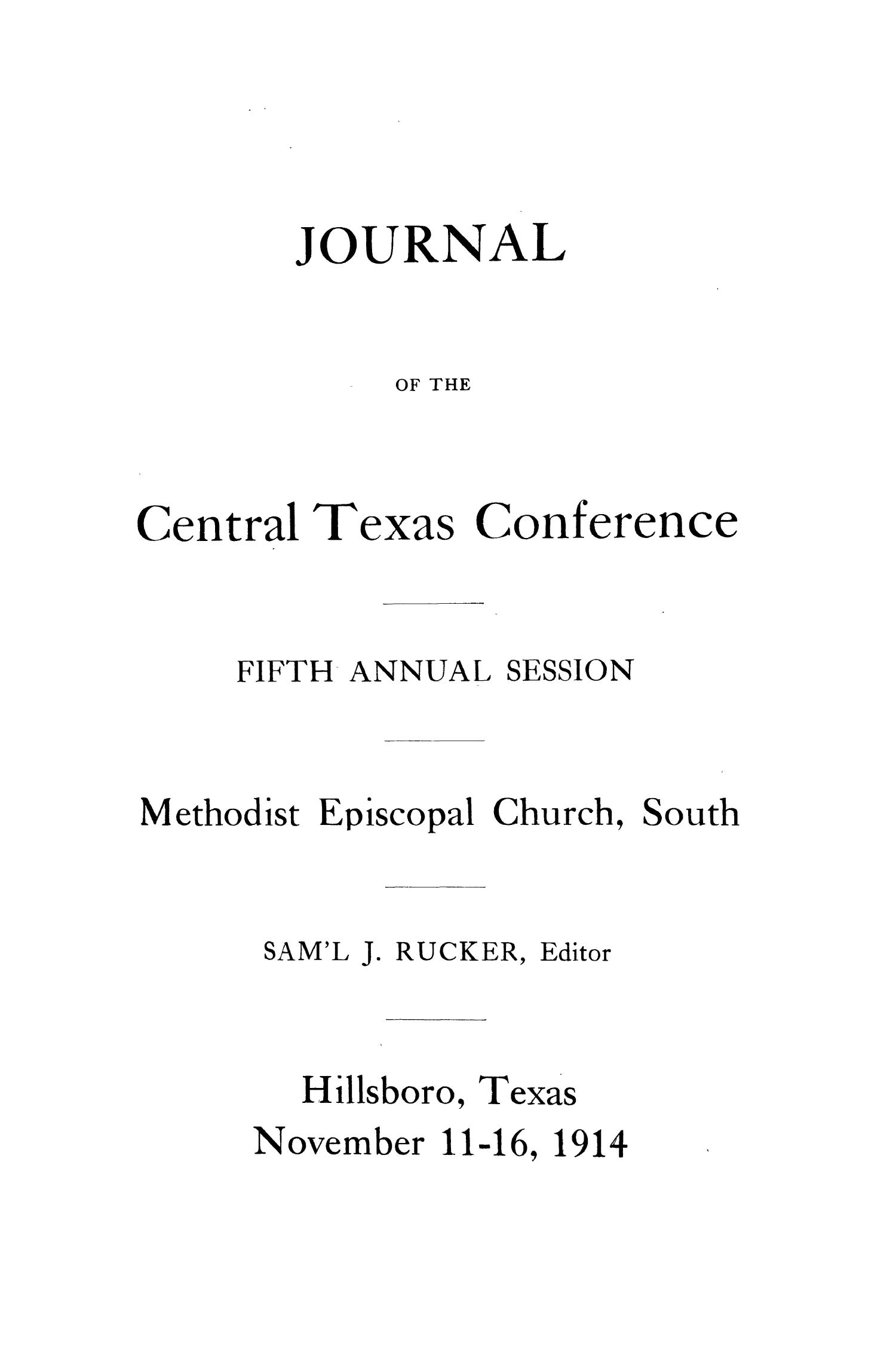 Journal of the Central Texas Conference, Fifth Annual Session, Methodist Episcopal Church, South                                                                                                      1