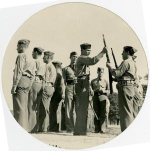 Primary view of object titled 'Men in Attention with Rifles'.