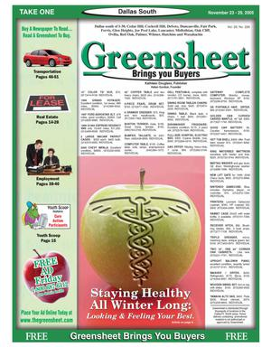 Primary view of object titled 'Greensheet (Dallas, Tex.), Vol. 29, No. 226, Ed. 1 Wednesday, November 23, 2005'.