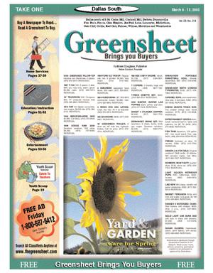 Primary view of object titled 'Greensheet (Dallas, Tex.), Vol. 28, No. 314, Ed. 1 Wednesday, March 9, 2005'.