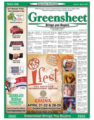 Primary view of object titled 'Greensheet (Houston, Tex.), Vol. 38, No. 144, Ed. 1 Friday, April 27, 2007'.
