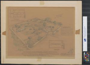 Primary view of object titled 'Birdseye Perspective from Northwest, Restoration Legation de France, Austin, Texas, For Daughters of the Republic of Texas'.