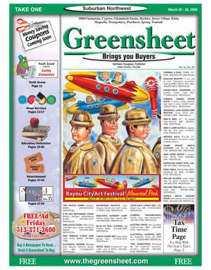 Primary view of object titled 'Greensheet (Houston, Tex.), Vol. 40, No. 84, Ed. 1 Friday, March 20, 2009'.