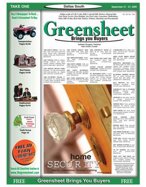 Primary view of object titled 'Greensheet (Dallas, Tex.), Vol. 29, No. 163, Ed. 1 Wednesday, September 21, 2005'.