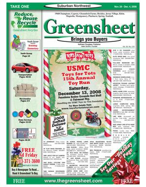 Primary view of object titled 'Greensheet (Houston, Tex.), Vol. 39, No. 516, Ed. 1 Friday, November 28, 2008'.