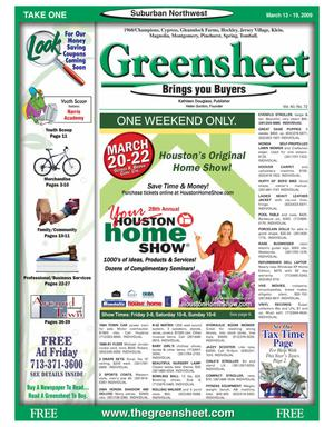 Primary view of object titled 'Greensheet (Houston, Tex.), Vol. 40, No. 72, Ed. 1 Friday, March 13, 2009'.