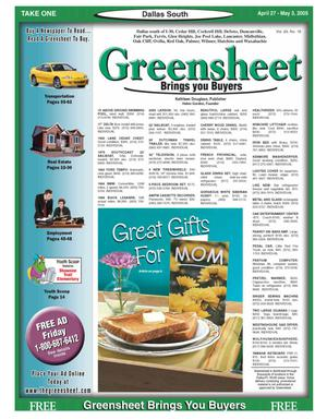 Primary view of object titled 'Greensheet (Dallas, Tex.), Vol. 29, No. 16, Ed. 1 Wednesday, April 27, 2005'.