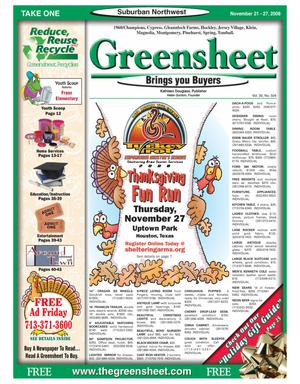 Primary view of object titled 'Greensheet (Houston, Tex.), Vol. 39, No. 504, Ed. 1 Friday, November 21, 2008'.