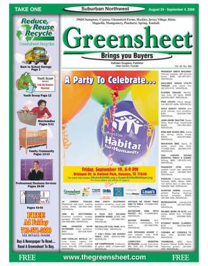 Primary view of object titled 'Greensheet (Houston, Tex.), Vol. 39, No. 360, Ed. 1 Friday, August 29, 2008'.