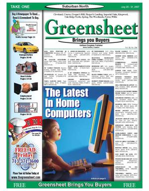 Primary view of object titled 'Greensheet (Houston, Tex.), Vol. 38, No. 294, Ed. 1 Wednesday, July 25, 2007'.