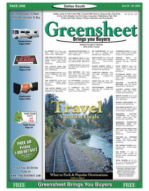 Primary view of object titled 'Greensheet (Dallas, Tex.), Vol. 29, No. 100, Ed. 1 Wednesday, July 20, 2005'.