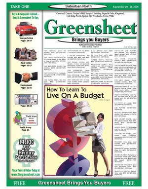 Primary view of object titled 'Greensheet (Houston, Tex.), Vol. 37, No. 390, Ed. 1 Wednesday, September 20, 2006'.
