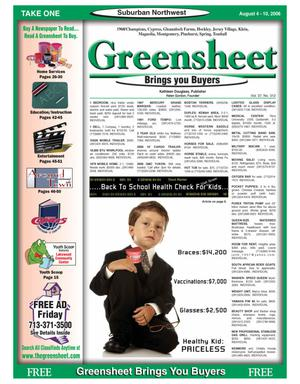 Primary view of object titled 'Greensheet (Houston, Tex.), Vol. 37, No. 312, Ed. 1 Friday, August 4, 2006'.