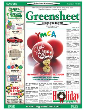 Primary view of object titled 'Greensheet (Houston, Tex.), Vol. 39, No. 528, Ed. 1 Friday, December 5, 2008'.