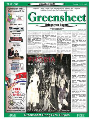 Primary view of object titled 'Greensheet (Houston, Tex.), Vol. 38, No. 438, Ed. 1 Wednesday, October 17, 2007'.