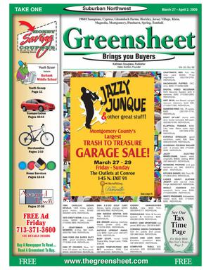 Primary view of object titled 'Greensheet (Houston, Tex.), Vol. 40, No. 96, Ed. 1 Friday, March 27, 2009'.