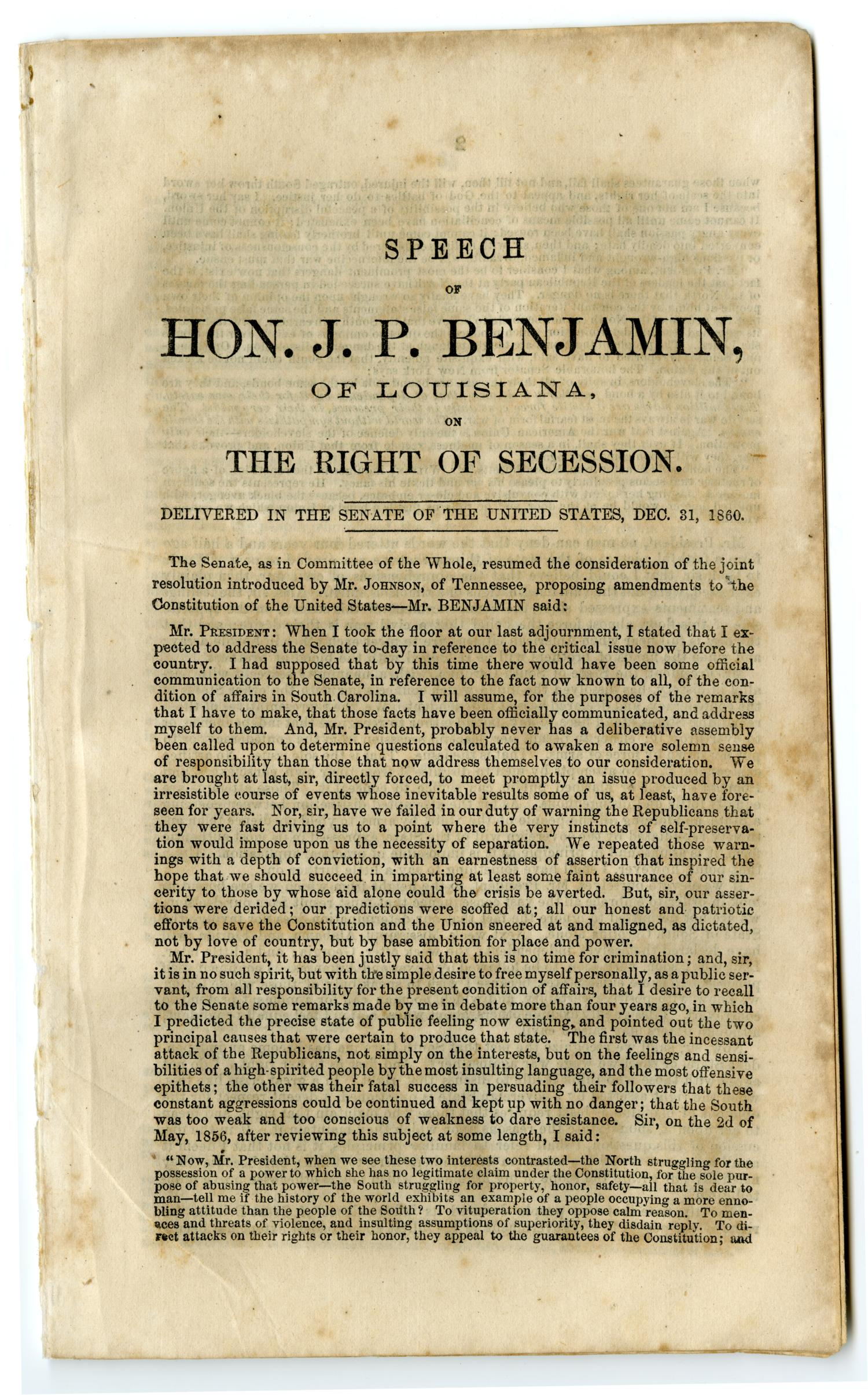 State of the union speech of hon jp benjamin of louisiana on state of the union speech of hon jp benjamin of louisiana on the right of secession delivered in the senate of the united states dec 31 1860 solutioingenieria Choice Image