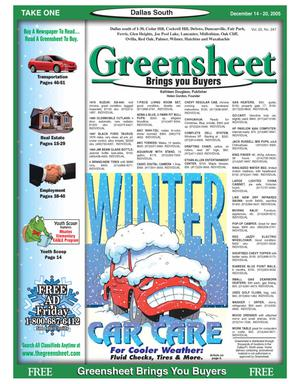 Primary view of object titled 'Greensheet (Dallas, Tex.), Vol. 29, No. 247, Ed. 1 Wednesday, December 14, 2005'.