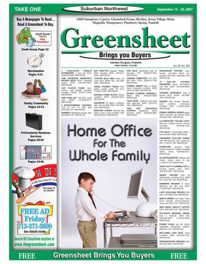 Primary view of object titled 'Greensheet (Houston, Tex.), Vol. 38, No. 384, Ed. 1 Friday, September 14, 2007'.