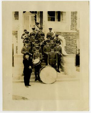 Primary view of object titled 'Marching Band Group Picture on the Steps of the Administration Building'.