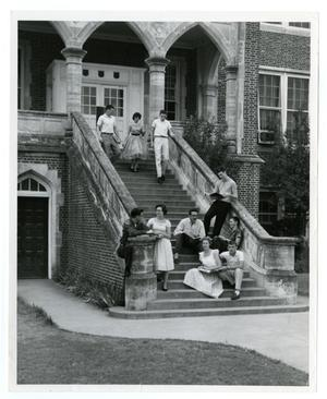 Primary view of object titled 'Student (1959 - 1960) on the Admin. Building (Weir) Steps; Judy Parker, Don Morgan, and Eugene White'.