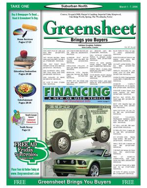 Primary view of object titled 'Greensheet (Houston, Tex.), Vol. 37, No. 42, Ed. 1 Wednesday, March 1, 2006'.