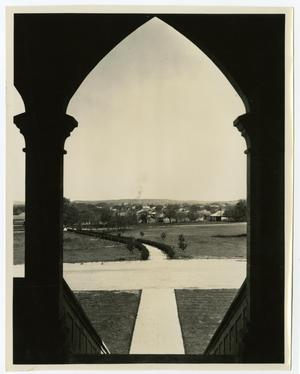 Primary view of object titled 'View from the Admin. Building (Weir) Stariecase Archway'.