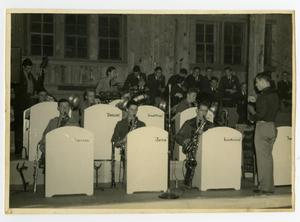 "Primary view of object titled '""Swingmasters"" Band Plays at Dance in Schreiner Institute Gymnasium'."