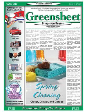 Primary view of object titled 'Greensheet (Houston, Tex.), Vol. 38, No. 78, Ed. 1 Wednesday, March 21, 2007'.