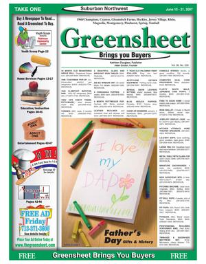 Primary view of object titled 'Greensheet (Houston, Tex.), Vol. 38, No. 228, Ed. 1 Friday, June 15, 2007'.