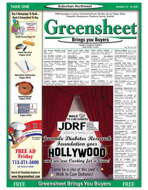 Primary view of object titled 'Greensheet (Houston, Tex.), Vol. 38, No. 432, Ed. 1 Friday, October 12, 2007'.