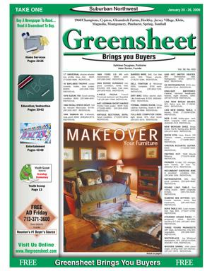 Primary view of object titled 'Greensheet (Houston, Tex.), Vol. 36, No. 600, Ed. 1 Friday, January 20, 2006'.