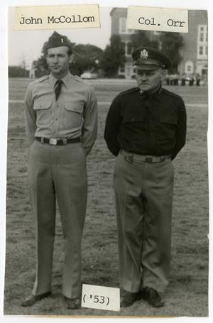 Primary view of object titled 'John McCollom and Col. Orr in Uniform, 1953'.