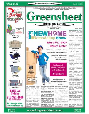 Primary view of object titled 'Greensheet (Houston, Tex.), Vol. 40, No. 168, Ed. 1 Friday, May 8, 2009'.