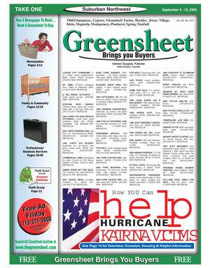 Primary view of object titled 'Greensheet (Houston, Tex.), Vol. 36, No. 372, Ed. 1 Friday, September 9, 2005'.