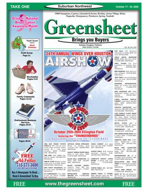 Primary view of object titled 'Greensheet (Houston, Tex.), Vol. 39, No. 444, Ed. 1 Friday, October 17, 2008'.
