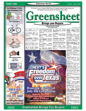 Primary view of object titled 'Greensheet (Houston, Tex.), Vol. 38, No. 246, Ed. 1 Wednesday, June 27, 2007'.