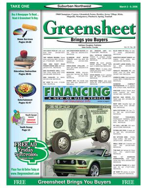 Primary view of object titled 'Greensheet (Houston, Tex.), Vol. 37, No. 48, Ed. 1 Friday, March 3, 2006'.